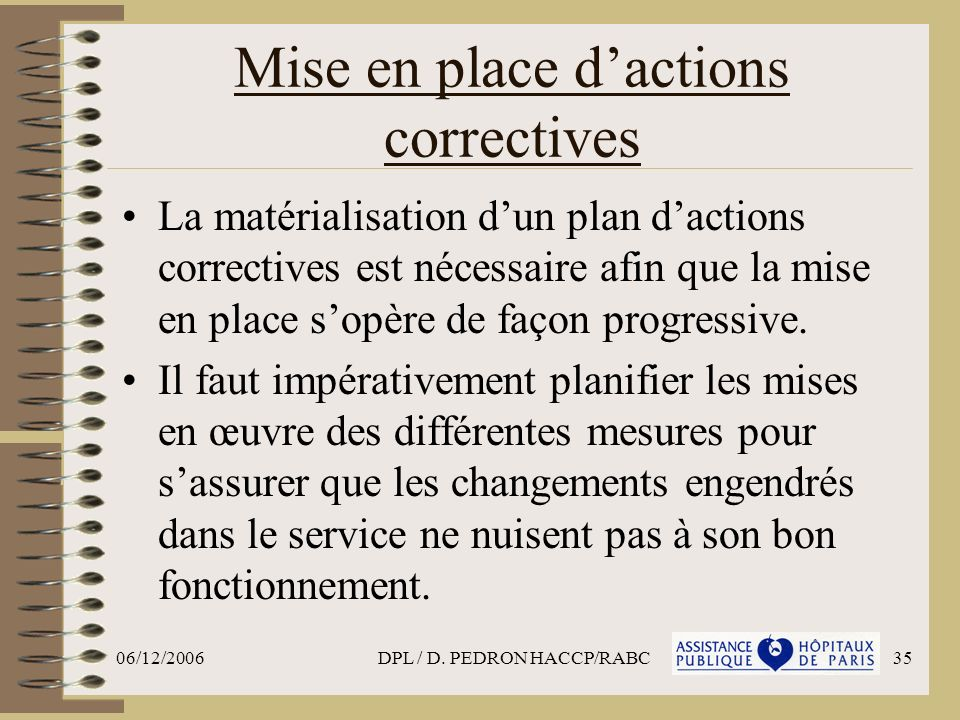 Mise en place d'actions correctives