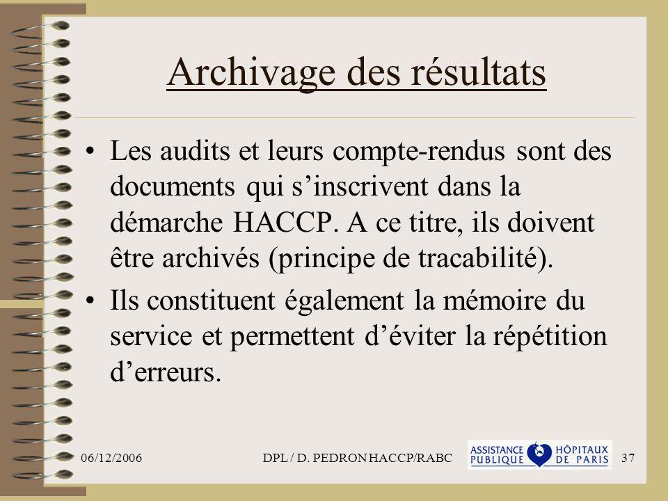 Archivage des résultats
