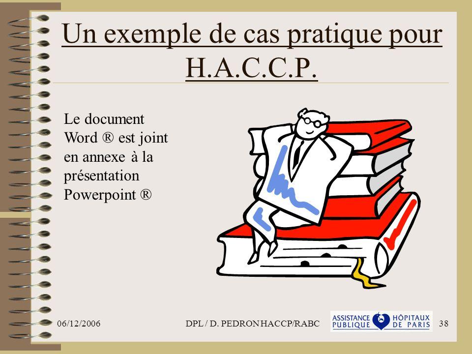 Un exemple de cas pratique pour H.A.C.C.P.