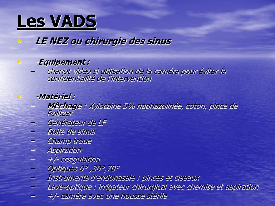 Les VADS LE NEZ ou chirurgie des sinus -Equipement :