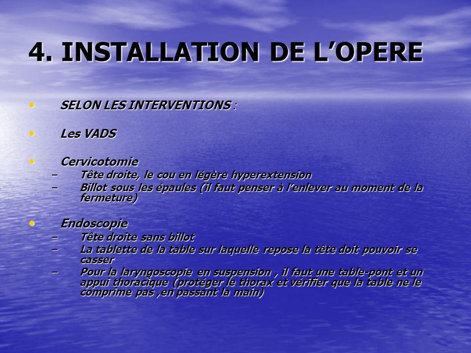 4. INSTALLATION DE L'OPERE