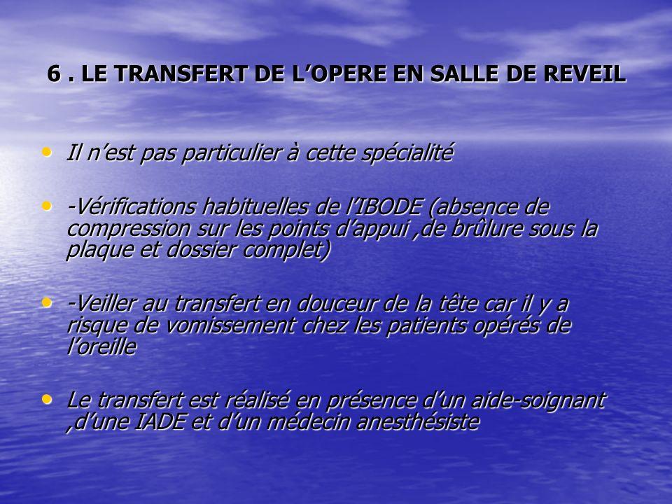 6 . LE TRANSFERT DE L'OPERE EN SALLE DE REVEIL