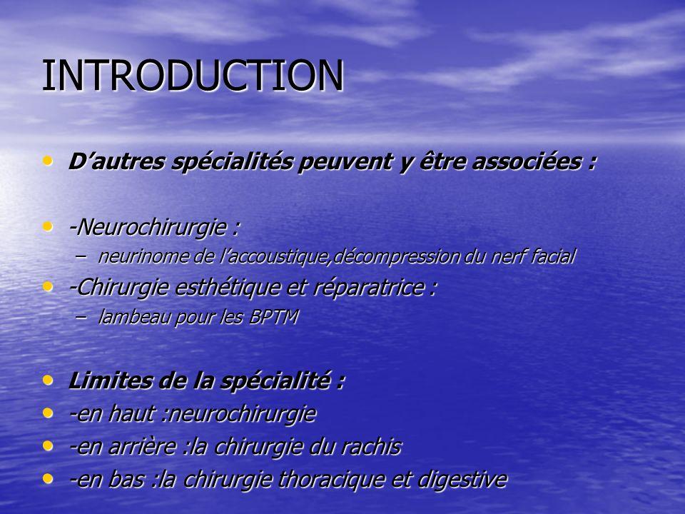 INTRODUCTION D'autres spécialités peuvent y être associées :