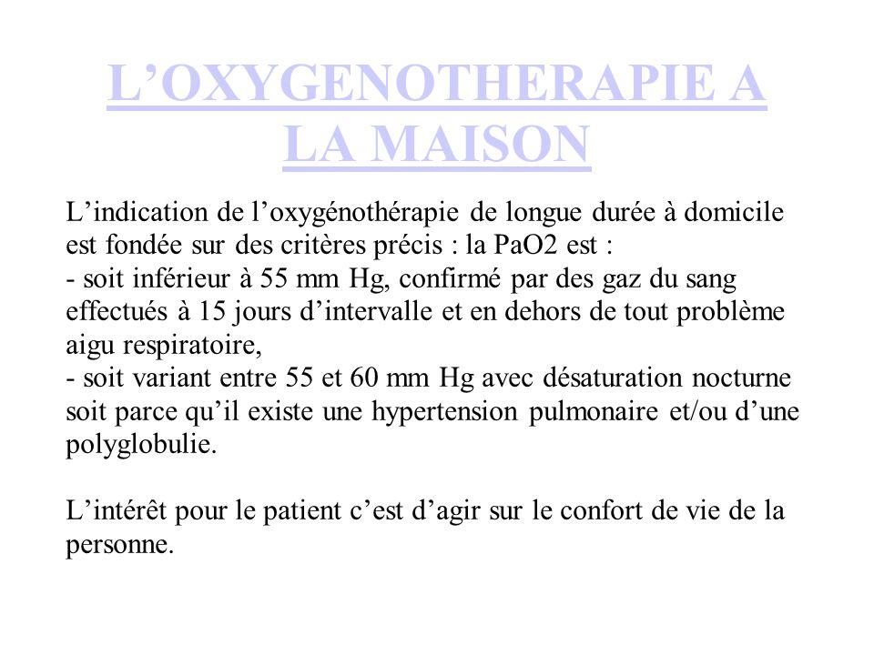 L'OXYGENOTHERAPIE A LA MAISON