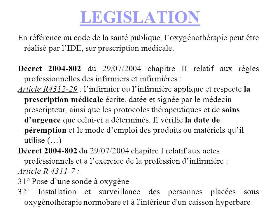 LEGISLATION En référence au code de la santé publique, l'oxygénothérapie peut être réalisé par l'IDE, sur prescription médicale.