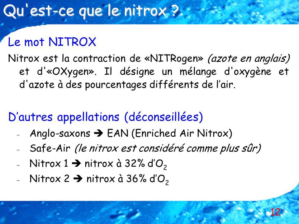 Qu est-ce que le nitrox Le mot NITROX