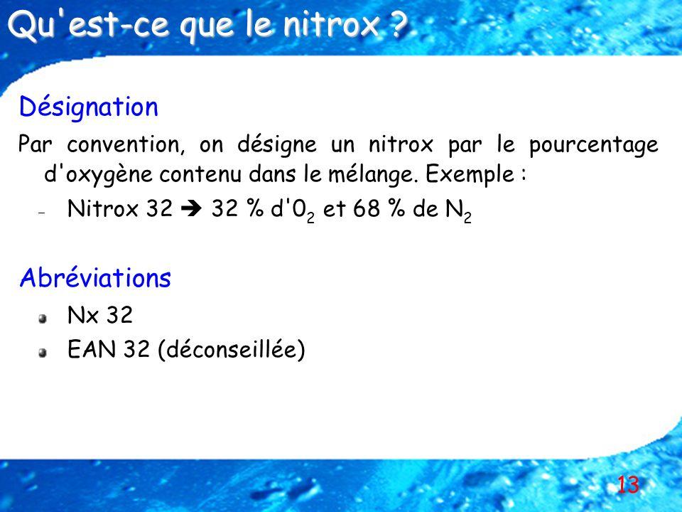 Qu est-ce que le nitrox Désignation Abréviations