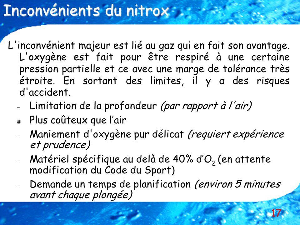 Inconvénients du nitrox