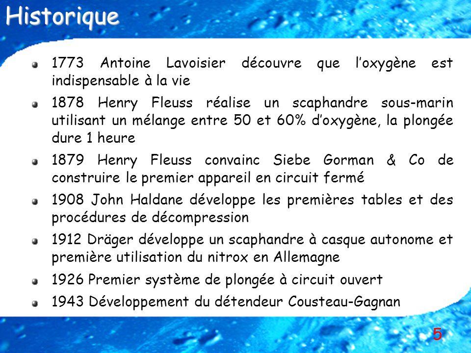Historique 1773 Antoine Lavoisier découvre que l'oxygène est indispensable à la vie.
