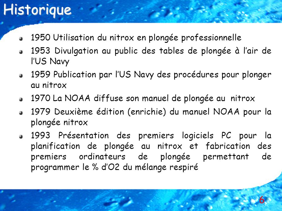Historique 1950 Utilisation du nitrox en plongée professionnelle