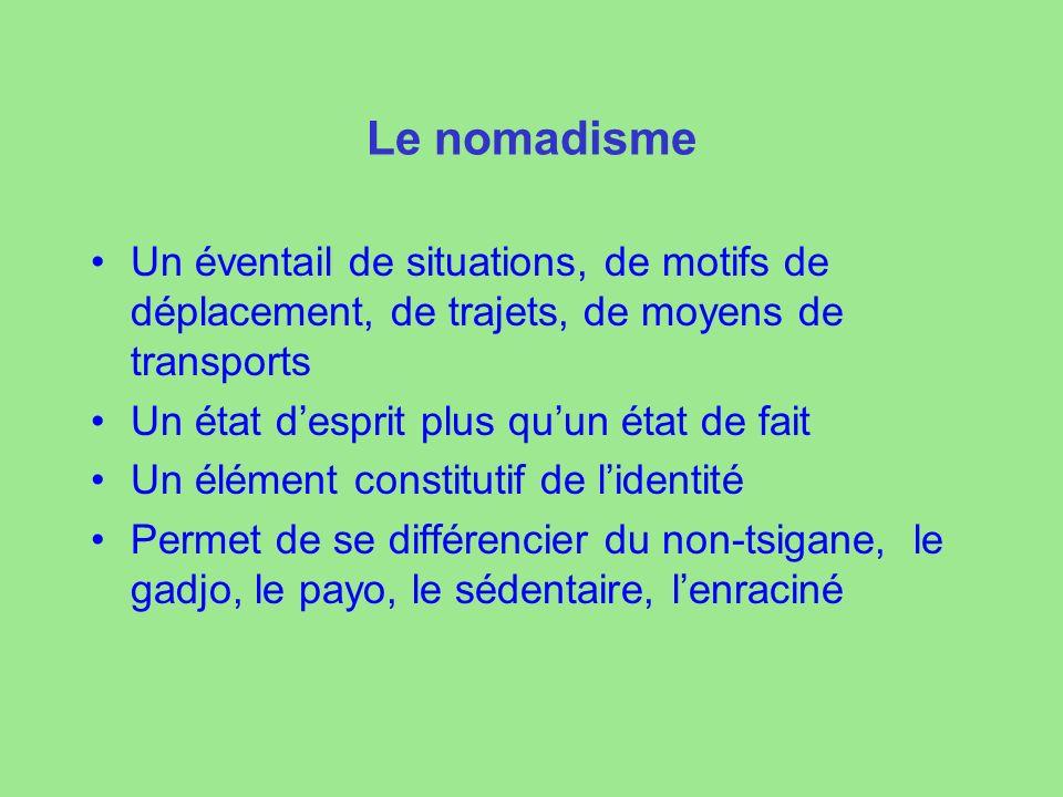 Le nomadisme Un éventail de situations, de motifs de déplacement, de trajets, de moyens de transports.