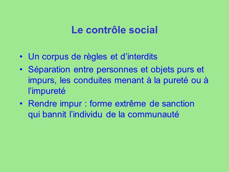 Le contrôle social Un corpus de règles et d'interdits