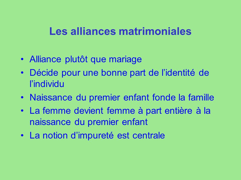 Les alliances matrimoniales