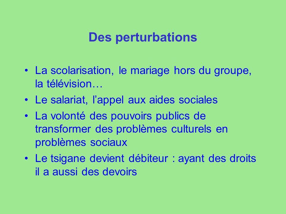 Des perturbations La scolarisation, le mariage hors du groupe, la télévision… Le salariat, l'appel aux aides sociales.
