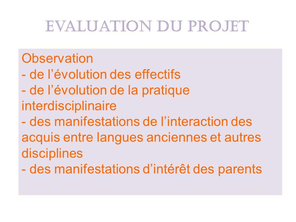 Evaluation du projet Observation de l'évolution des effectifs