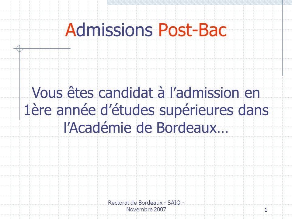 Rectorat de Bordeaux - SAIO - Novembre 2007