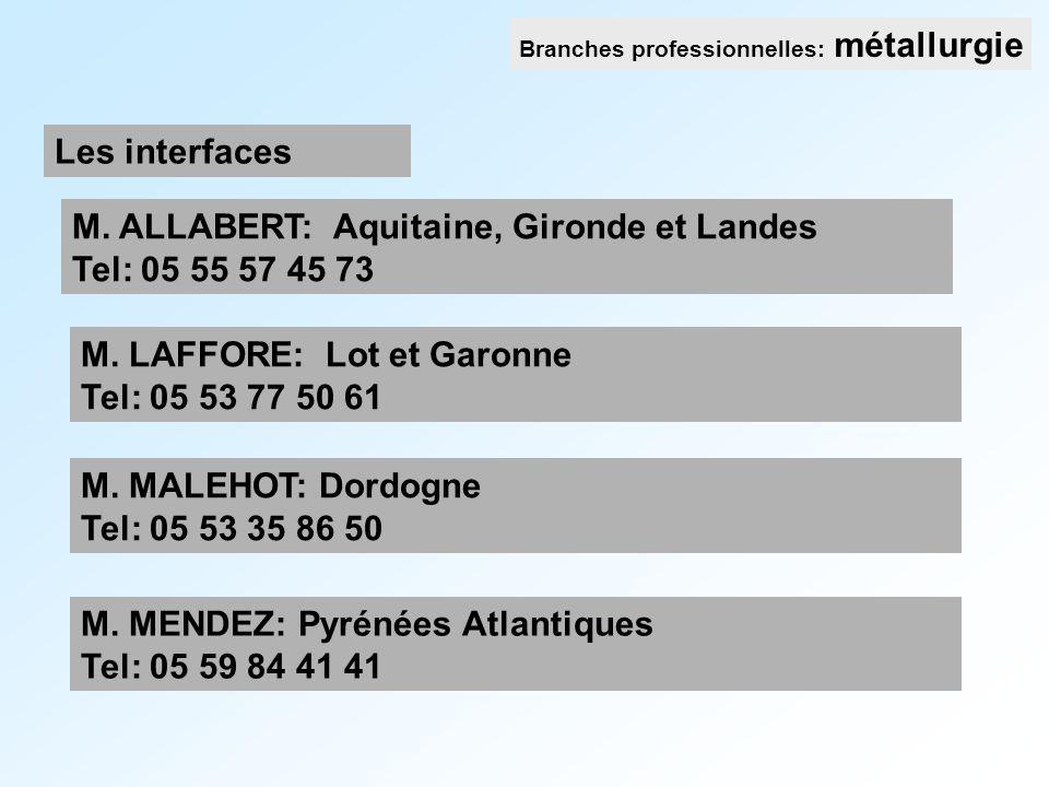 M. ALLABERT: Aquitaine, Gironde et Landes Tel: 05 55 57 45 73