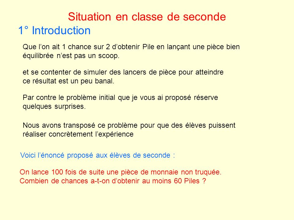 Situation en classe de seconde