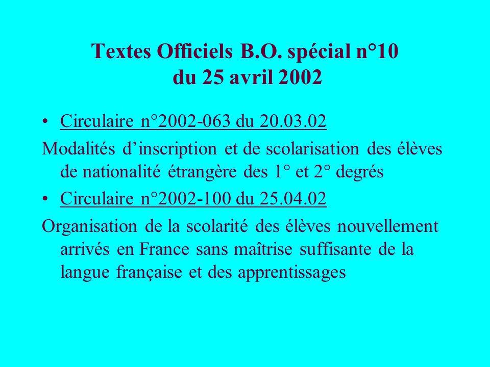 Textes Officiels B.O. spécial n°10 du 25 avril 2002