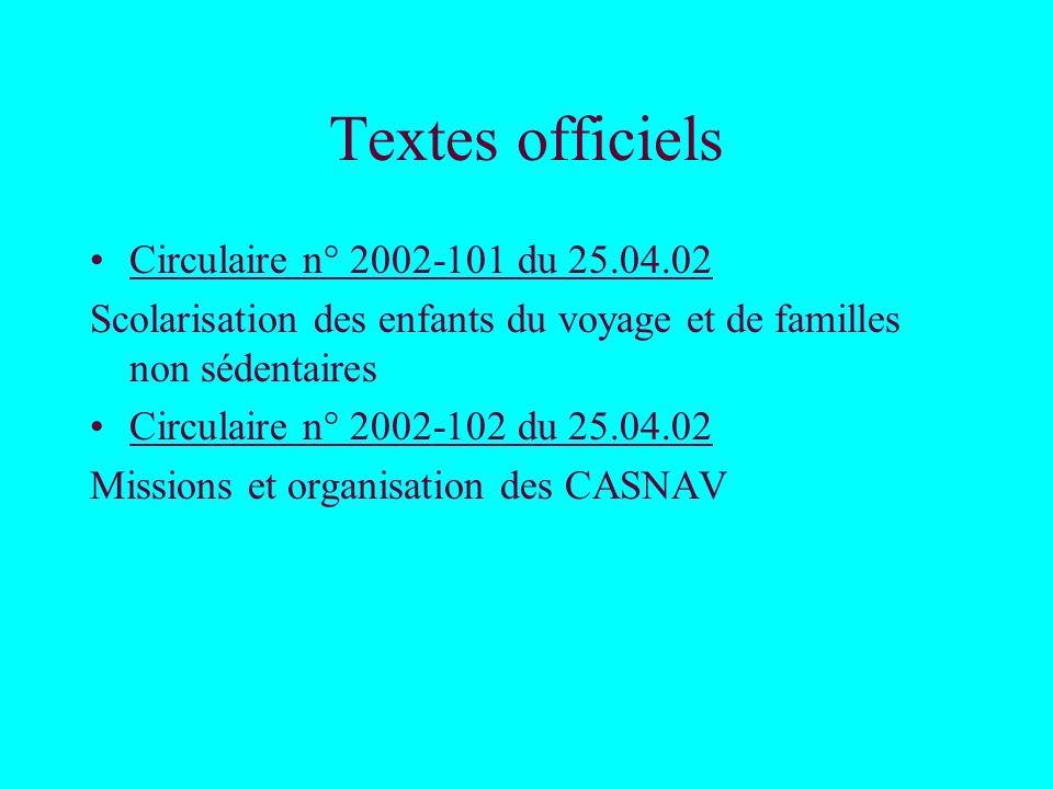 Textes officiels Circulaire n° 2002-101 du 25.04.02