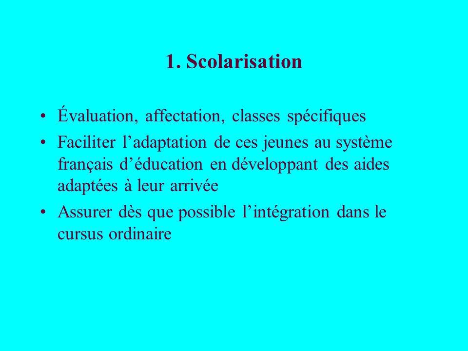 1. Scolarisation Évaluation, affectation, classes spécifiques
