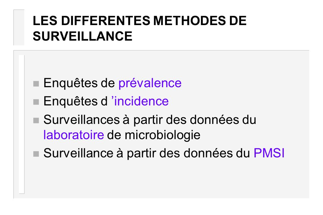 LES DIFFERENTES METHODES DE SURVEILLANCE
