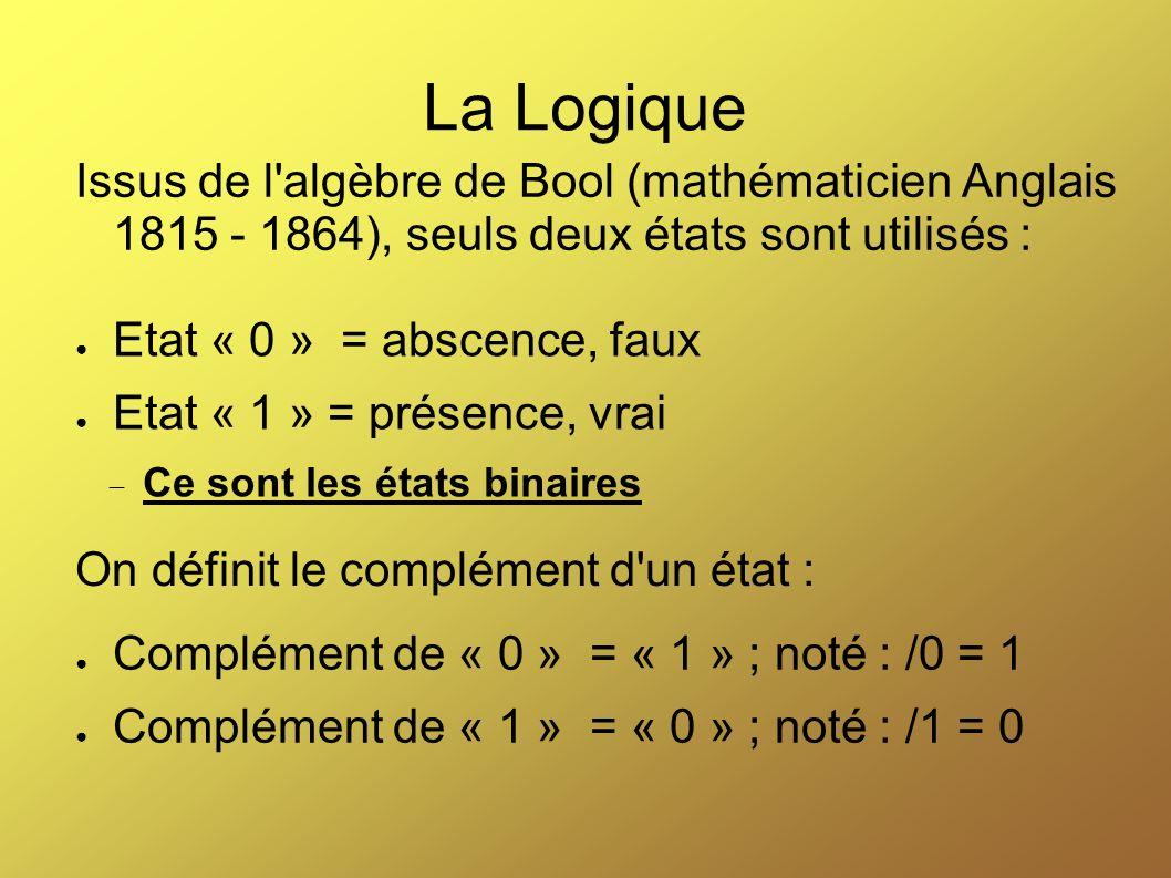 La Logique Issus de l algèbre de Bool (mathématicien Anglais 1815 - 1864), seuls deux états sont utilisés :