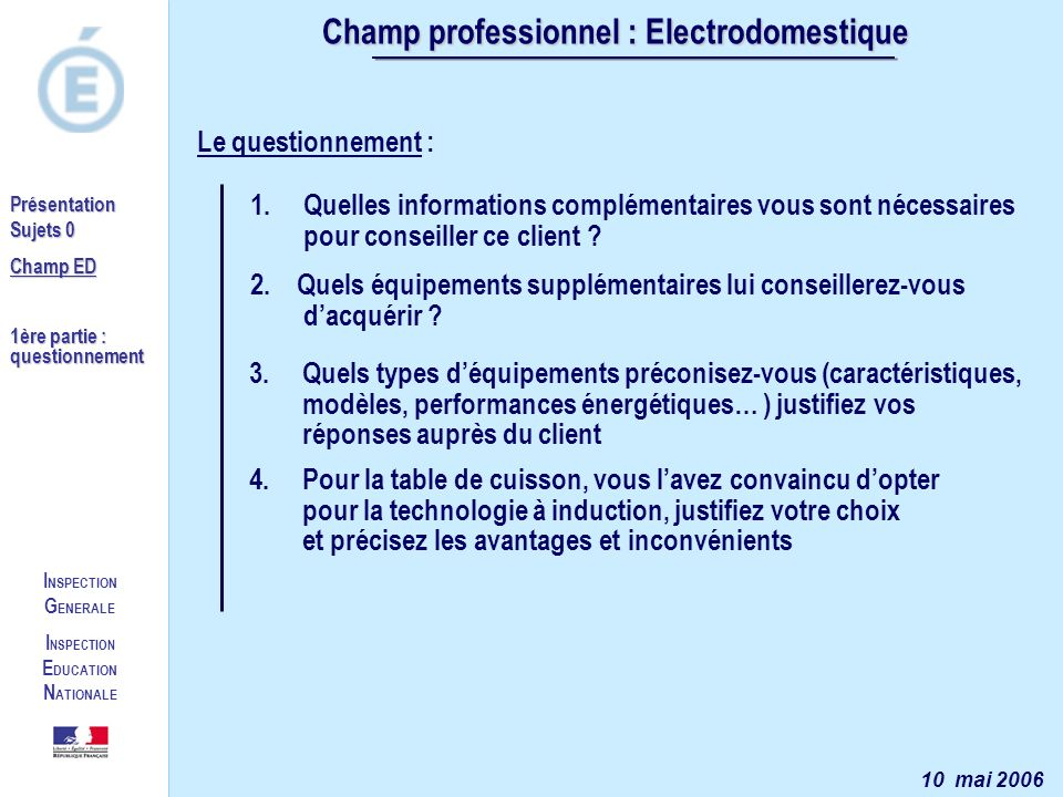 Champ professionnel : Electrodomestique INSPECTION EDUCATION NATIONALE