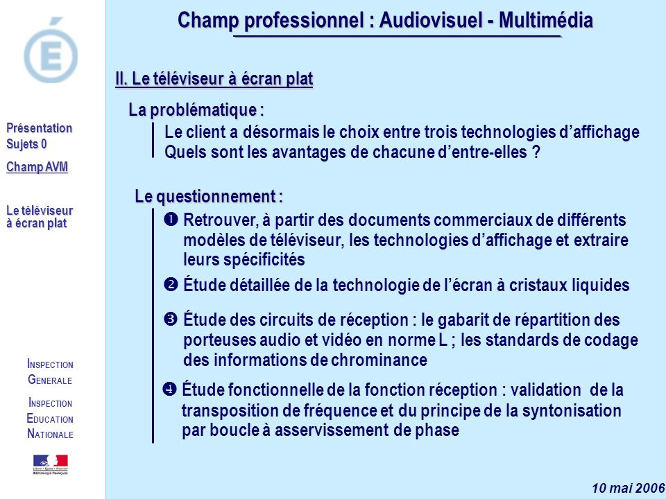 Champ professionnel : Audiovisuel - Multimédia