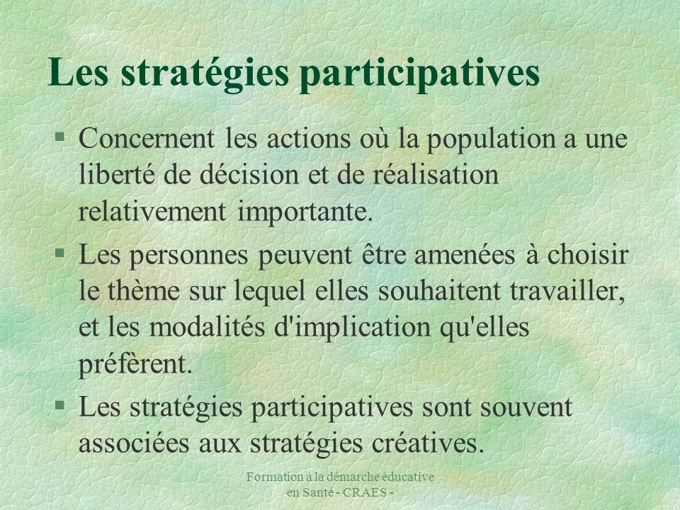 Les stratégies participatives