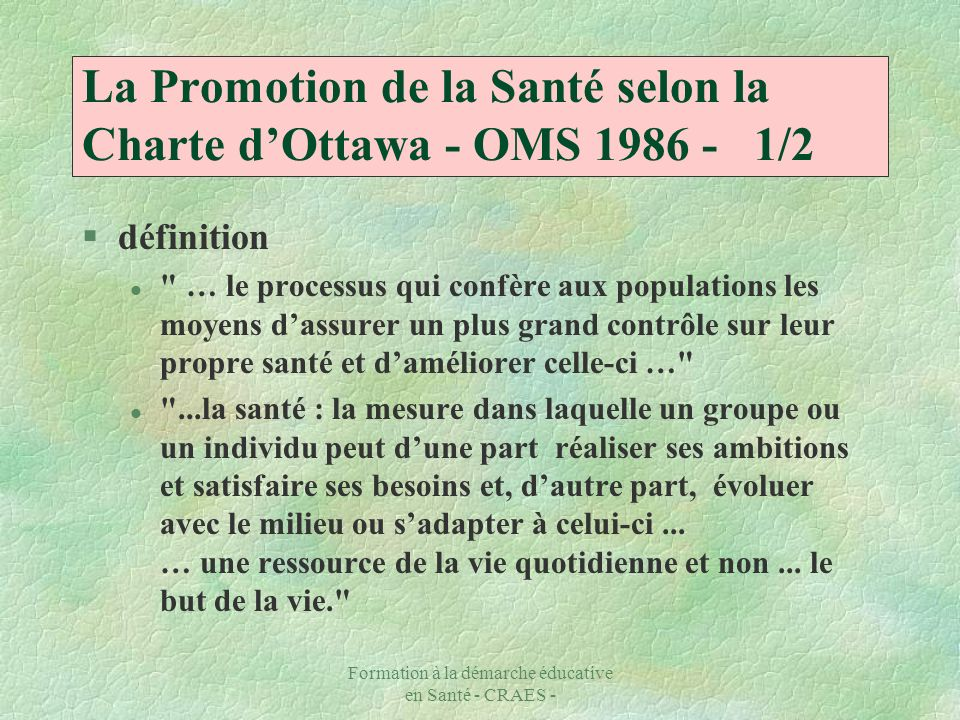 La Promotion de la Santé selon la Charte d'Ottawa - OMS 1986 - 1/2