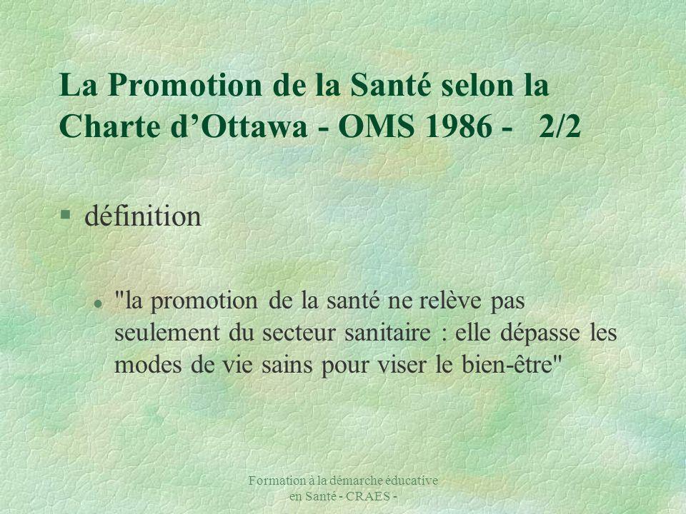 La Promotion de la Santé selon la Charte d'Ottawa - OMS 1986 - 2/2