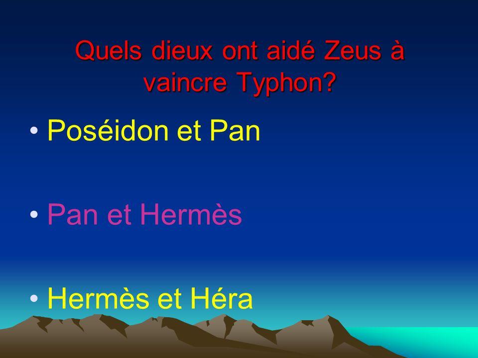 Quels dieux ont aidé Zeus à vaincre Typhon