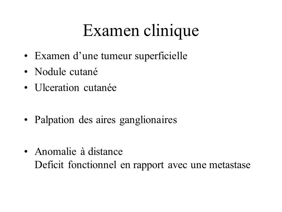 Examen clinique Examen d'une tumeur superficielle Nodule cutané