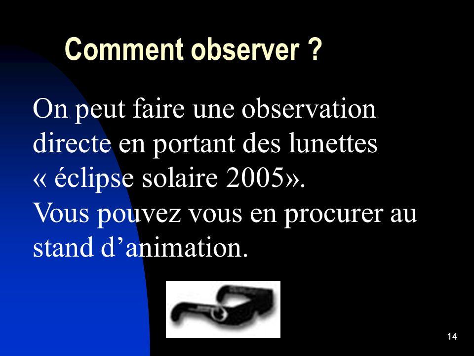 Comment observer On peut faire une observation directe en portant des lunettes « éclipse solaire 2005».