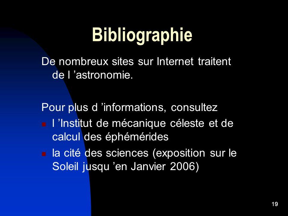 Bibliographie De nombreux sites sur Internet traitent de l 'astronomie. Pour plus d 'informations, consultez.