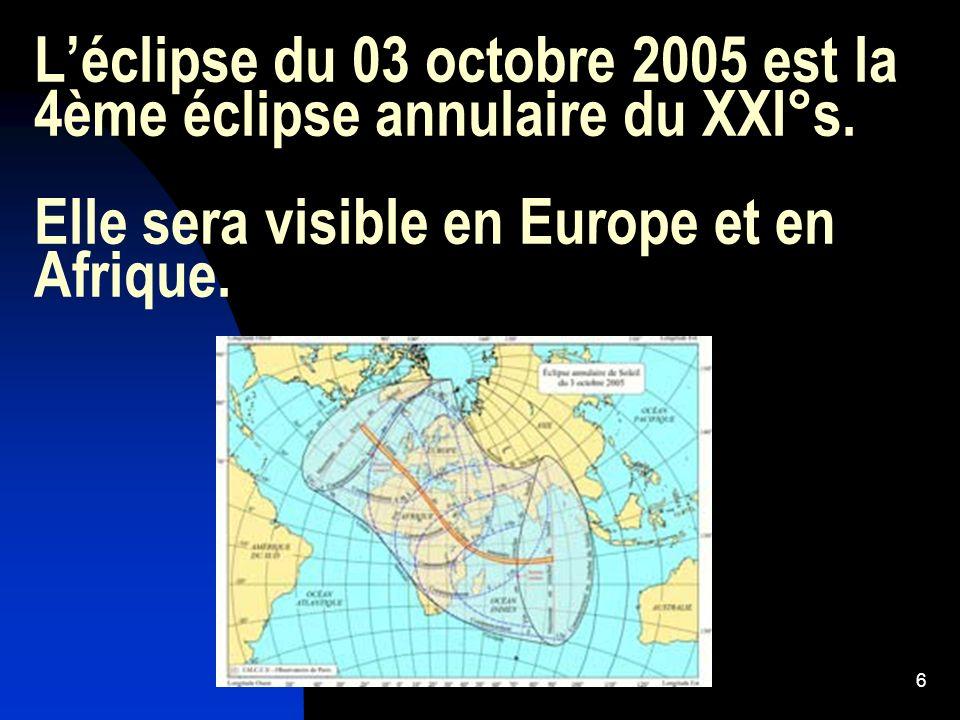 L'éclipse du 03 octobre 2005 est la 4ème éclipse annulaire du XXI°s