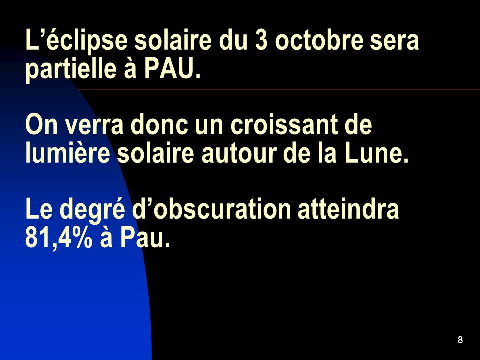 L'éclipse solaire du 3 octobre sera partielle à PAU