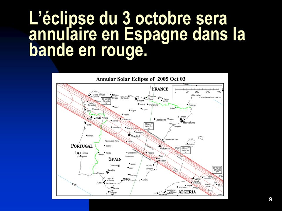 L'éclipse du 3 octobre sera annulaire en Espagne dans la bande en rouge.