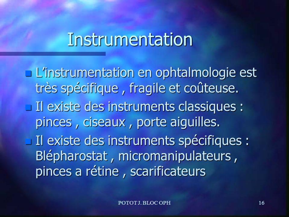 Instrumentation L'instrumentation en ophtalmologie est très spécifique , fragile et coûteuse.