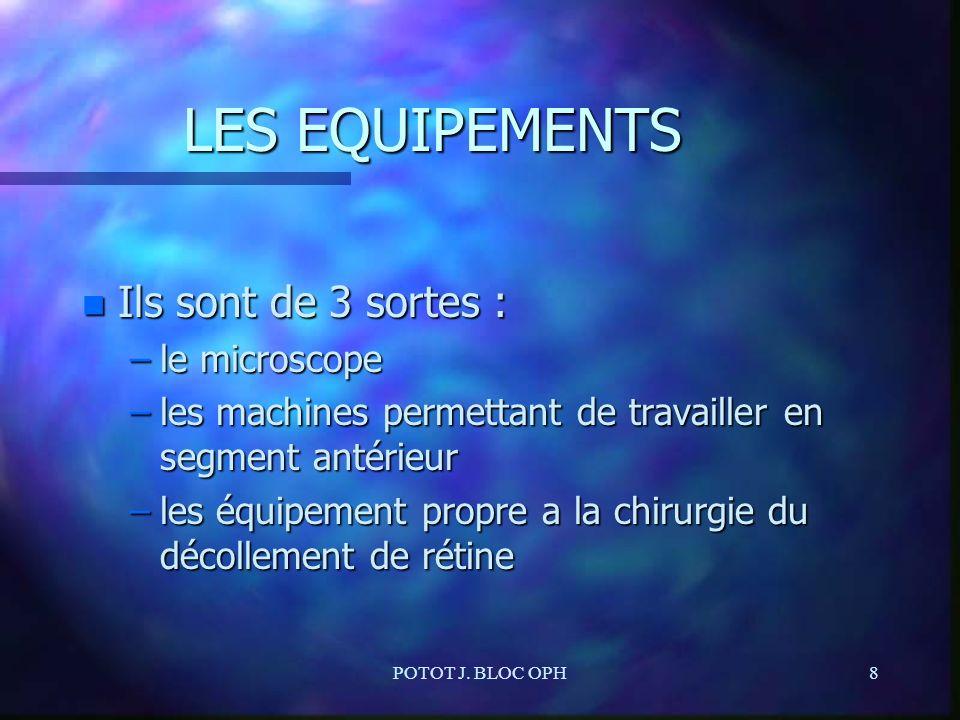 LES EQUIPEMENTS Ils sont de 3 sortes : le microscope