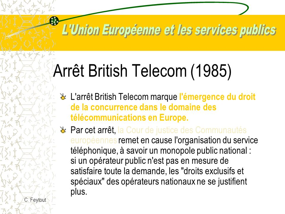 Arrêt British Telecom (1985)