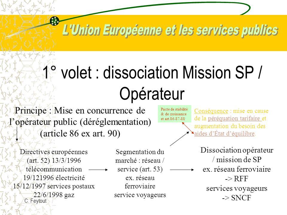 1° volet : dissociation Mission SP / Opérateur
