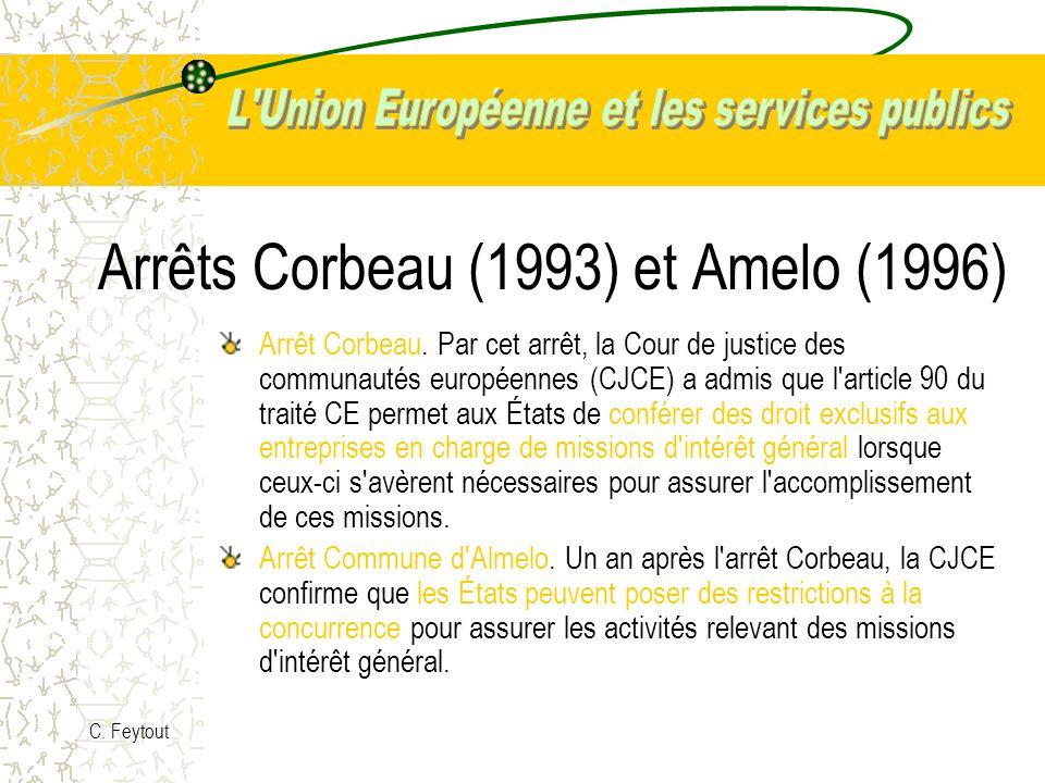 Arrêts Corbeau (1993) et Amelo (1996)