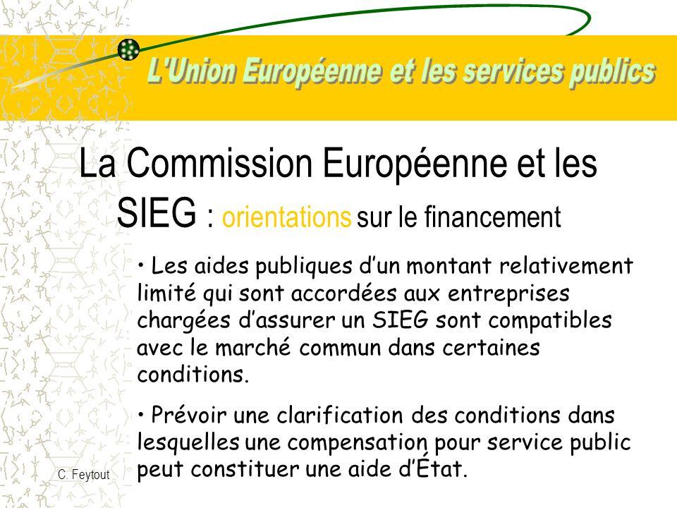 La Commission Européenne et les SIEG : orientations sur le financement