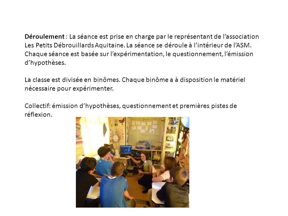 Déroulement : La séance est prise en charge par le représentant de l'association Les Petits Débrouillards Aquitaine.