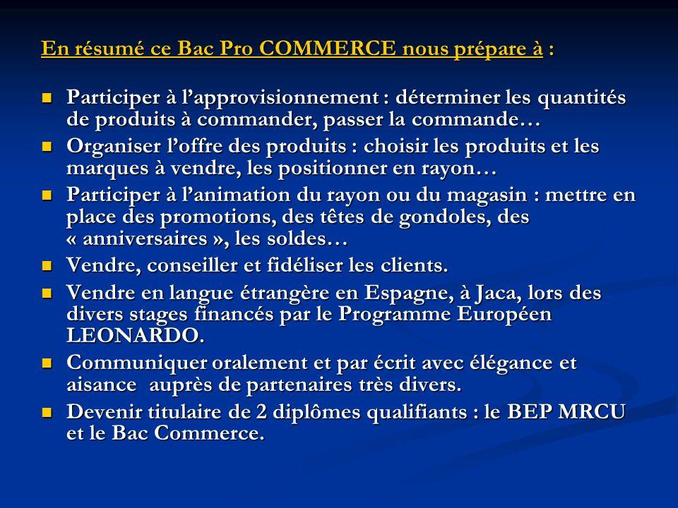 En résumé ce Bac Pro COMMERCE nous prépare à :
