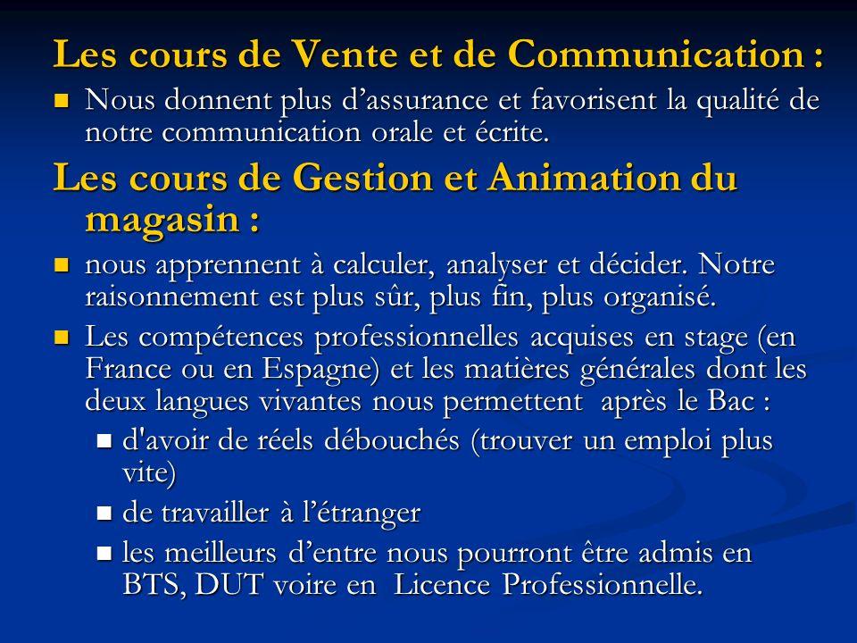 Les cours de Vente et de Communication :