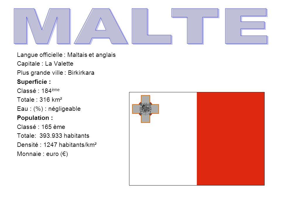 MALTE Langue officielle : Maltais et anglais Capitale : La Valette