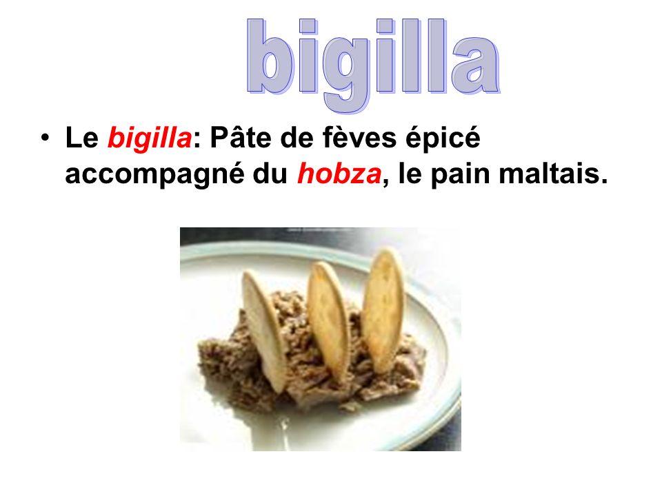 bigilla Le bigilla: Pâte de fèves épicé accompagné du hobza, le pain maltais.